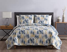 Morgan Home Printed 3 Piece Reversible Quilt Set with Shams – All Season Comfort, Available in, Colors & Sizes (Navy/Yellow, Full/Queen)