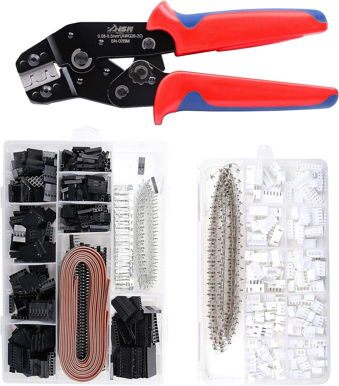Dupont Ratchet Crimping Tool Set,Zhushan SN-02BM AWG 28-20AWG (0.08-0.5mm²) Crimper Plier Kit with 1550PCS 2.54mm Dupont Connectors and 460PCS 2.54mm JST-XH Connectors