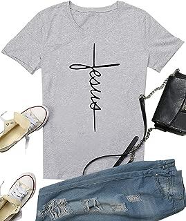 Nlife Women Causal Jesus Letter Printed T-Shirt Christian Graphic Short Sleeve T-Shirt