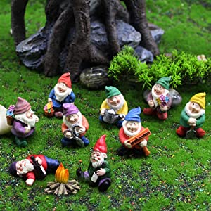 10Pcs Fairy Garden Gnome Statue Accessories, Gnome Garden Decorations Funny Mini Flame Fairy Garden Kit, Hand Painted Gnome Collectible Figurines for Indoor Outdoor Patio Yard Lawn House Decor