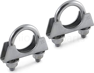 Ohio Diesel Parts Heavy Duty Muffler Clamp 1-1/4 Inch - Saddle Style with U-Bolt -Zinc (2-Pack)