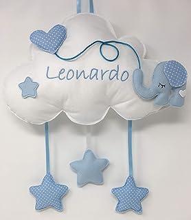 Fiocco nascita Nuvola Elefante - Dolce nuvola soffice con decorazioni a forma di stella e palloncino a cuoricino - Coccard...