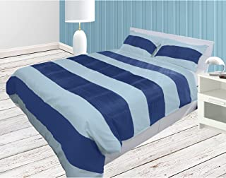 The Forty Winks Designer Chic Ruched 3PCs Duvet Set With Zipper & Corner Ties 100% Egyptian Cotton 600 Thread Count (Full/Queen, Light Blue and Royal Blue)
