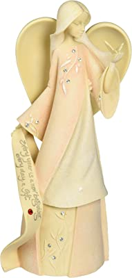 """Foundations July Monthly Angel Stone Resin Figurine, 7.5"""""""
