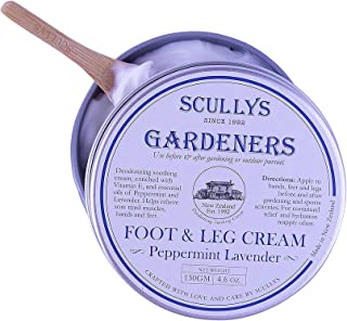 Scullys Peppermint Lavender Gardeners Foot & Leg Cream 130gm with Essential Oils - A Nourishing Non-Greasy, Fast Absorbin...