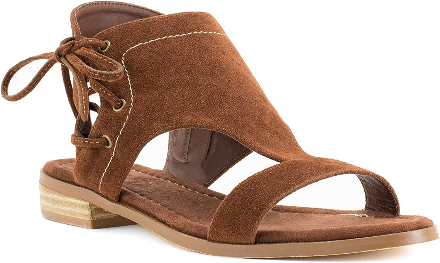 Avanti Bute Sandal with Lace Up Design and Zipper Side Closure