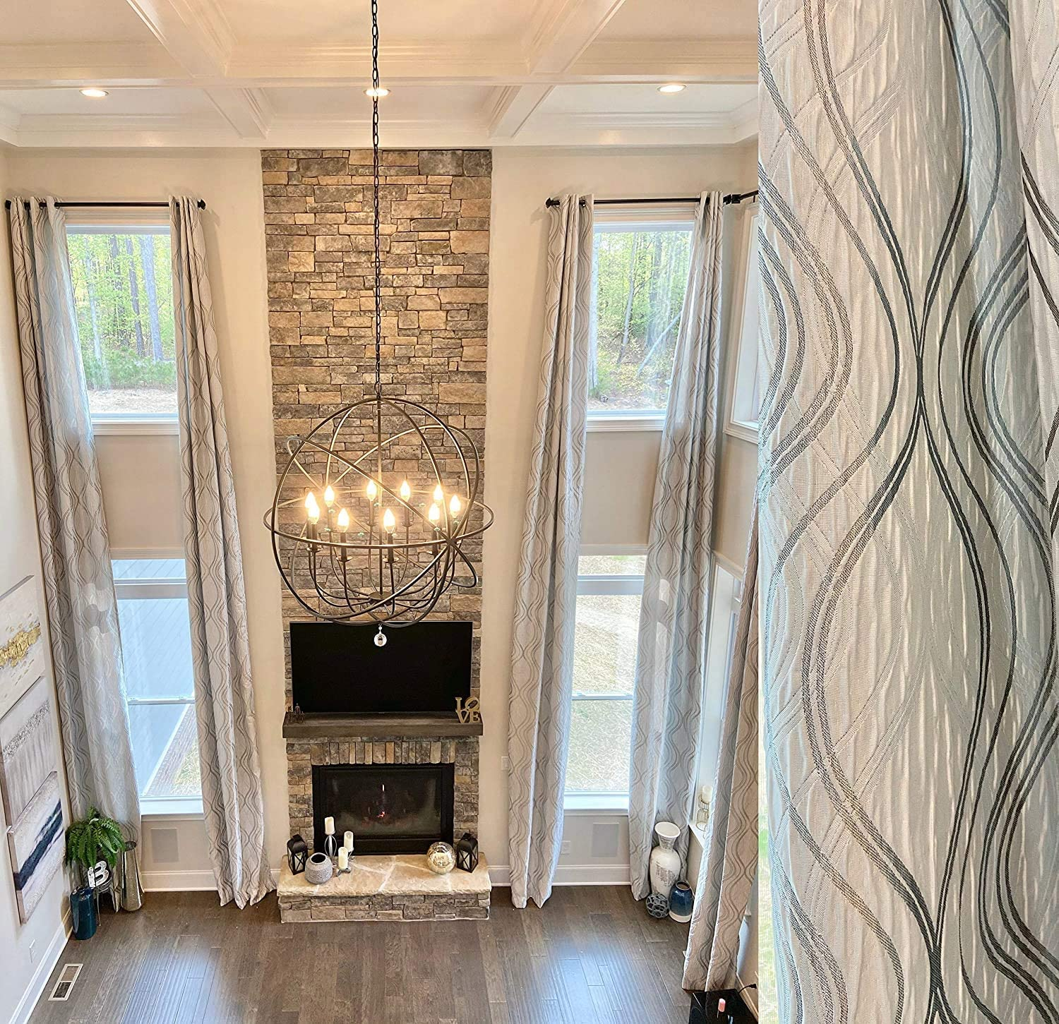 Extra Long Jacquard 55% OFF Curtain with Tulsa Mall White G Pattern and Gray Silver
