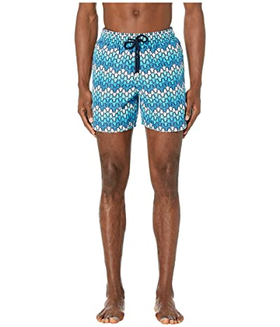 Vilebrequin Moorea Herringbone Turtles Swim Trunks (Blue Marine) Men
