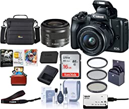 $500 » Canon EOS M50 Mirrorless Camera with EF-M 15-45mm f/3.5-6.3 is STM Lens, Black - Bundle with 16GB SDHC Card, Camera Case, 49mm Filter Kit, Cleaning Kit, Card Reader, Mac Software Package
