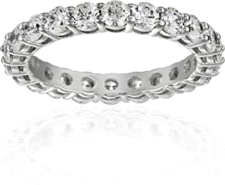 Platinum or Gold Plated Sterling Silver All-Around Band...