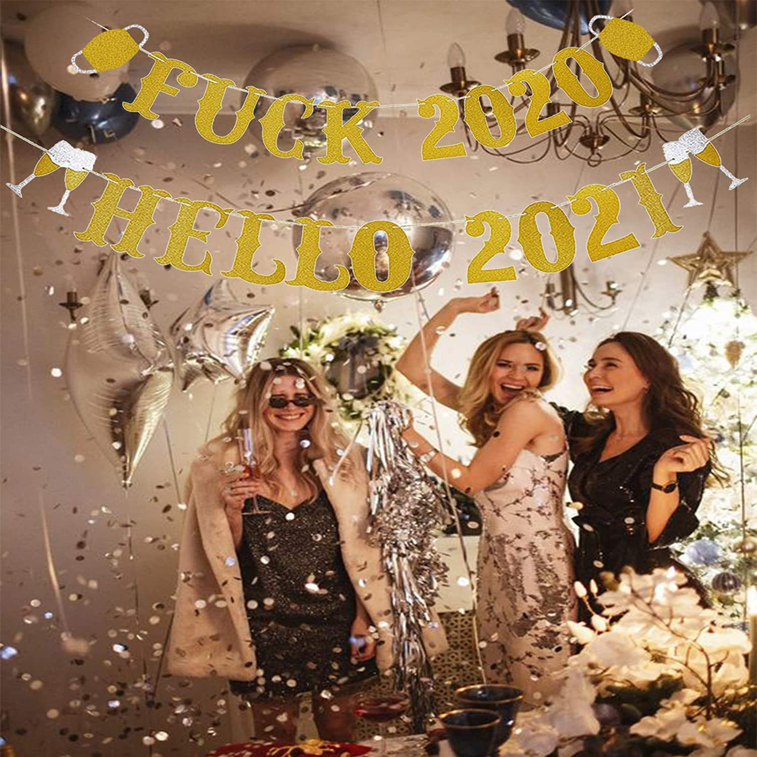 Gold 2 2021 New Years Eve Party Decorations New Year Banner New Years Eve Party Supplies 2021-Gold Glitter Farewell 2020 Hello 2021 Banner Gold Glitter |2020 Farewell Banner