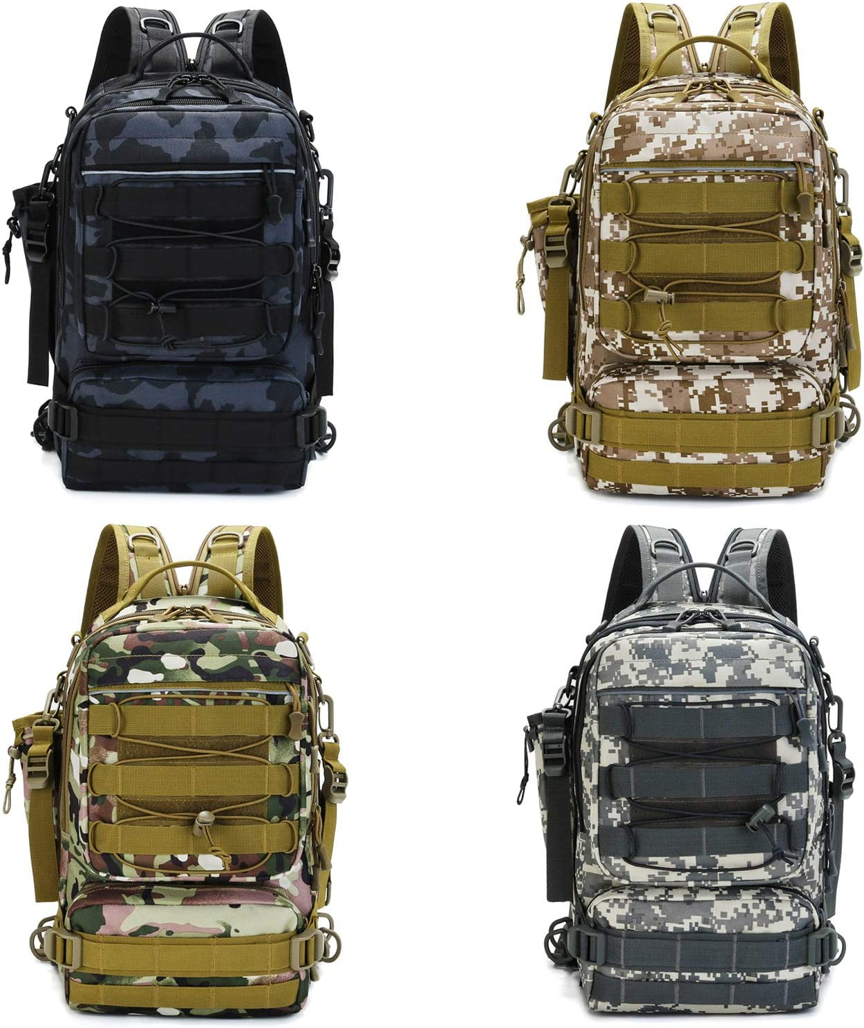 Thekuai Fishing Tackle Backpack Storage Bag Large Water-Resistant Fishing Gear Bags with Rod Holder Shoulder Backpack and a Sturdy Fishing Tackle Box Outdoor Shoulder Backpack