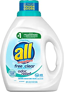 All Liquid Laundry Detergent, Free Clear With Odor Relief, 49 Loads, 88 Fluid Ounce