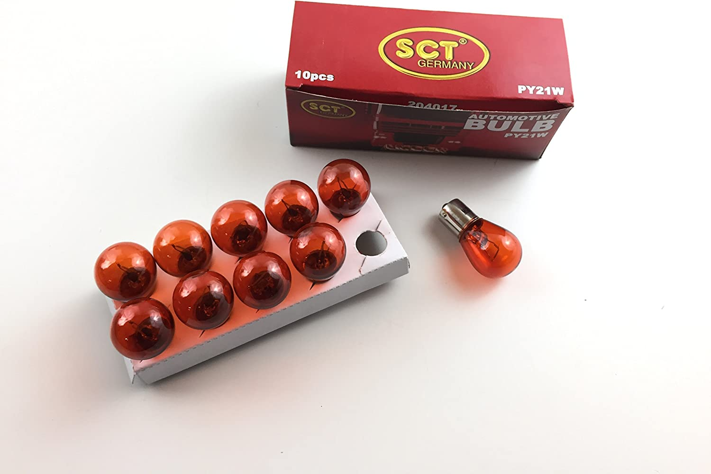 SCT Germany PY21W BAU15s - Lote de 10 bombillas (24 V, 21 W), color naranja