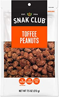 Snak Club All Natual Toffee Peanuts, Gluten Free, 7.5-Ounces, 6-Pack