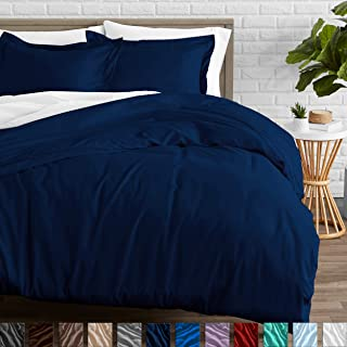 Bare Home Duvet Cover and Sham Set - Twin/Twin Extra Long - Premium 1800 Ultra-Soft Brushed Microfiber - Hypoallergenic, Easy Care, Wrinkle Resistant (Twin/Twin XL, Dark Blue)