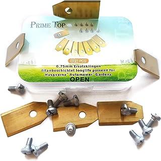 Cuchillas de repuesto de titanio para robot cortacésped Gardena® Husqvarna® Automower® – Cuchillas de cortacésped (0,75 mm – 3 g) + tornillos x30