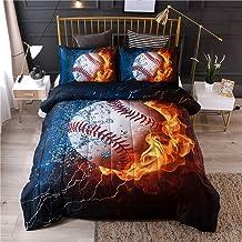 Red White Duvet Cover Set with Pillow Shams Baseball Sport Emblem Print