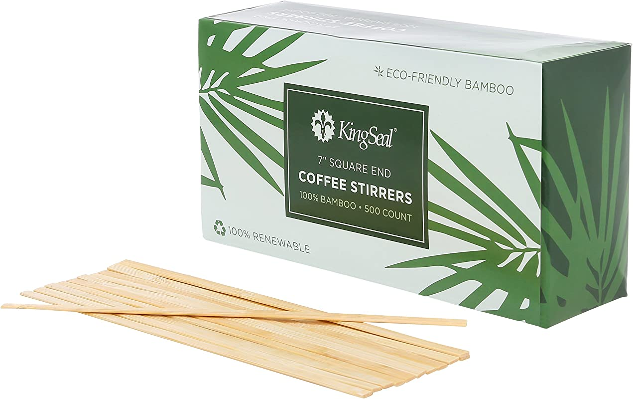 KingSeal Bamboo Wood Coffee Beverage Stirrers Square End 7 Inches 2 Boxes Of 500 Each 100 Renewable And Biodegradable Stronger And Thicker Than Standard Wood