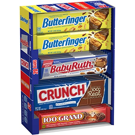 Butterfinger & Co. Chocolate-y Candy Bars, Bulk Full Size Variety Pack with Butterfinger, Crunch, Baby Ruth & 100 Grand Bars, Perfect Mother's Day Gift for Mom (20 Count)