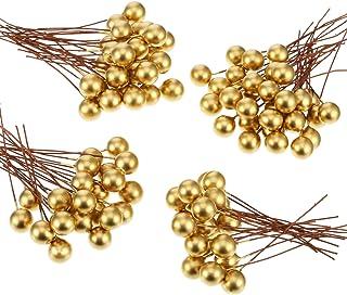 Bayas de Acebo Artificiales, 100 Piezas Mini 10 mm de Bayas Falsas Adornos en Alambre para Decoraciones de Árbol de Navidad DIY de Corona de Flores Manualidades (Dorado)