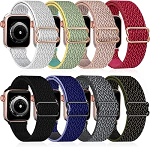 8 Pack Nylon Stretch Solo Loop Band Compatible with Apple Watch Bands 42mm 44mm 45mm,Adjustable Soft Sport Breathable Loop Elastics Women Men Strap for iWatch Series 7/6/5/4/3/2/1/SE(42mm/44mm/45mm)