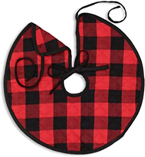 Cackleberry Home Red and Black Buffalo Check Woven Fabric Christmas Tree Skirt Quilted Reversible 21 Inches