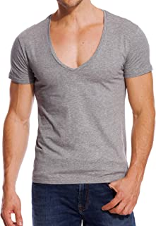 V Neck T Shirts Men Deep V Neck Tee Muscle Slim Fit Low Cut Stretch Tshirt