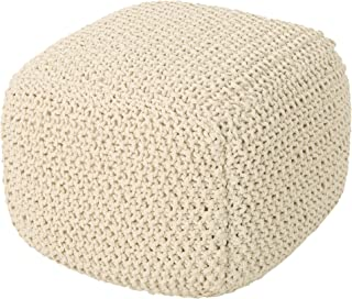 Christopher Knight Home 306271  Knox Knitted Cotton Pouf, Beige