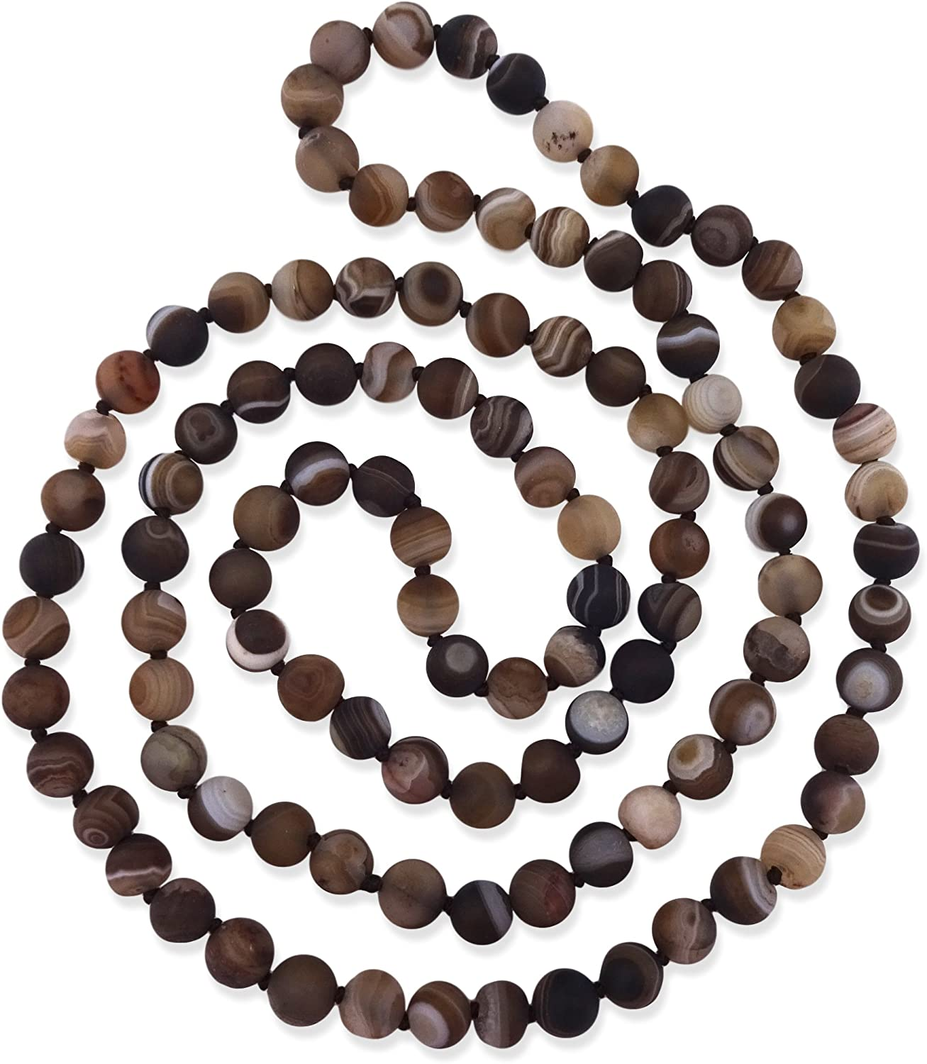 MGR MY GEMS ROCK! 36 Inch 7-8MM Matte Finnish Genuine Semi-Precious Stone Endless Infinity Long Beaded Strand Necklace.