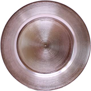 Ms Lovely Metallic Foil Charger Plates - Set of 6 - Made of Thick Plastic - Light Pink