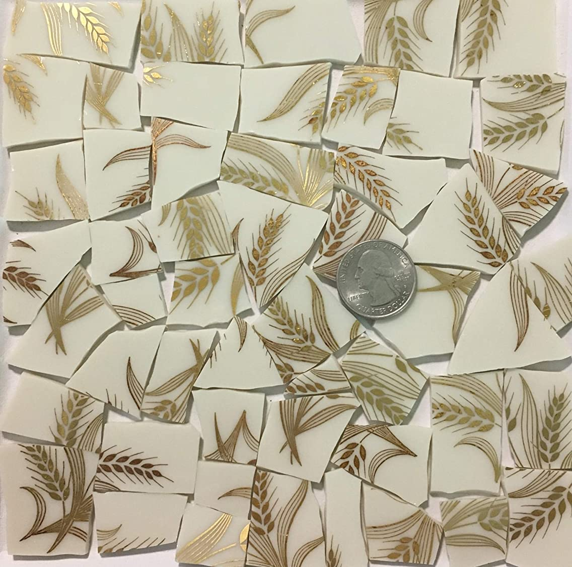 Mosaic Art & Crafts Supply ~ Metallic Gold Wheat Design Cream White China Tiles (B897)