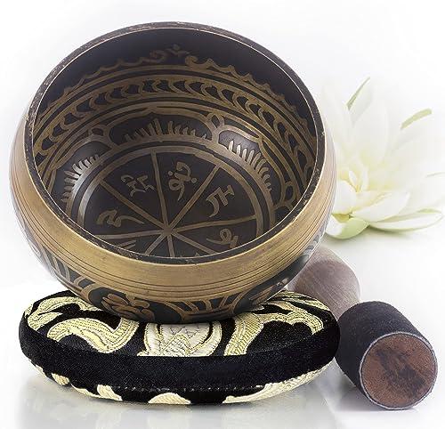 Silent Mind ~ Juego De Cuencos Tibetanos ~ Diseño Antiguo ~ Con Mazo De Superficie Doble Y Cojín De Seda ~ Promueve L...
