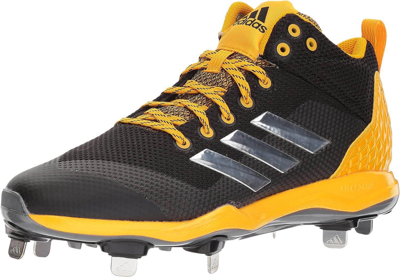 Adidas Men's Freak X Carbon Mid Baseball shoes, Core Black, Silver Met, Collegiate gold, 13.5 M US