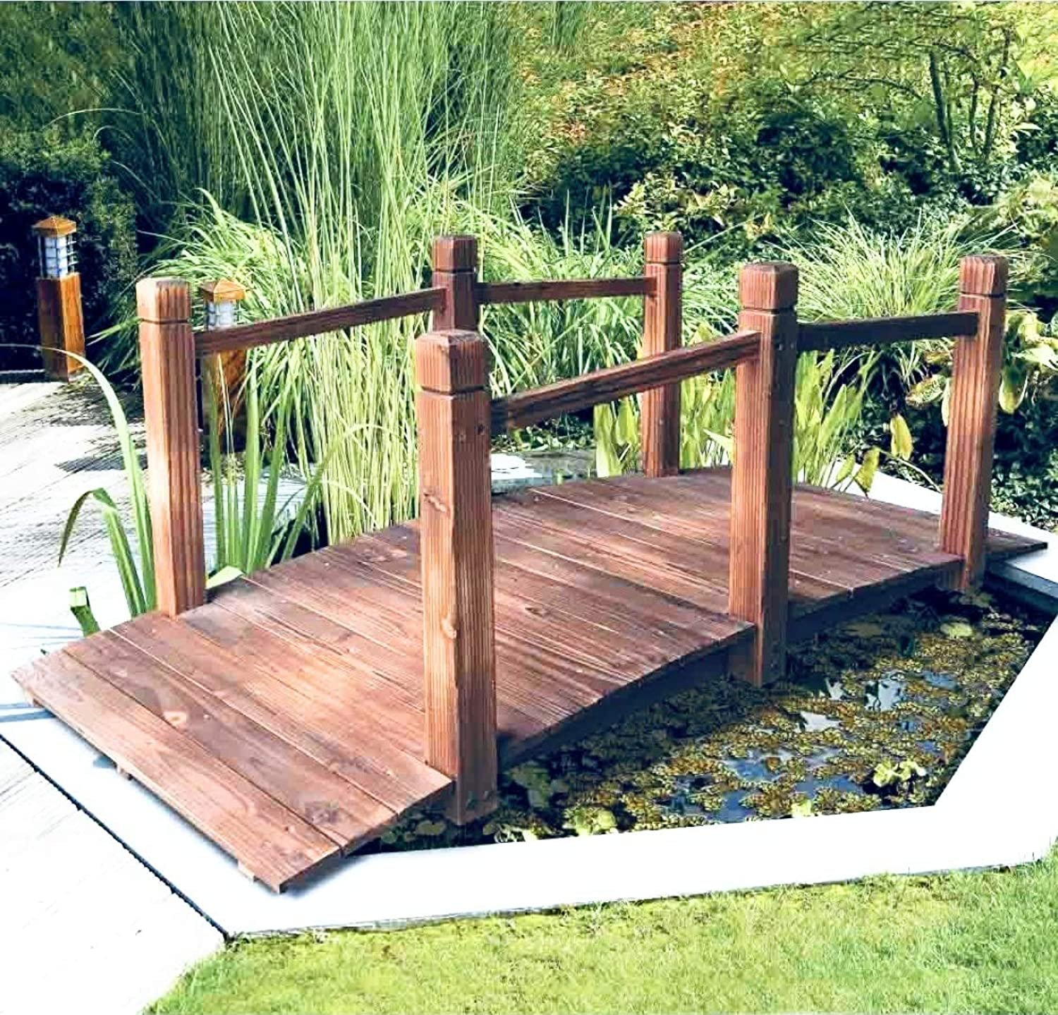 Abaseen decorative wooden Garden Bridge 5ft for Streams Ponds and Garden decoration