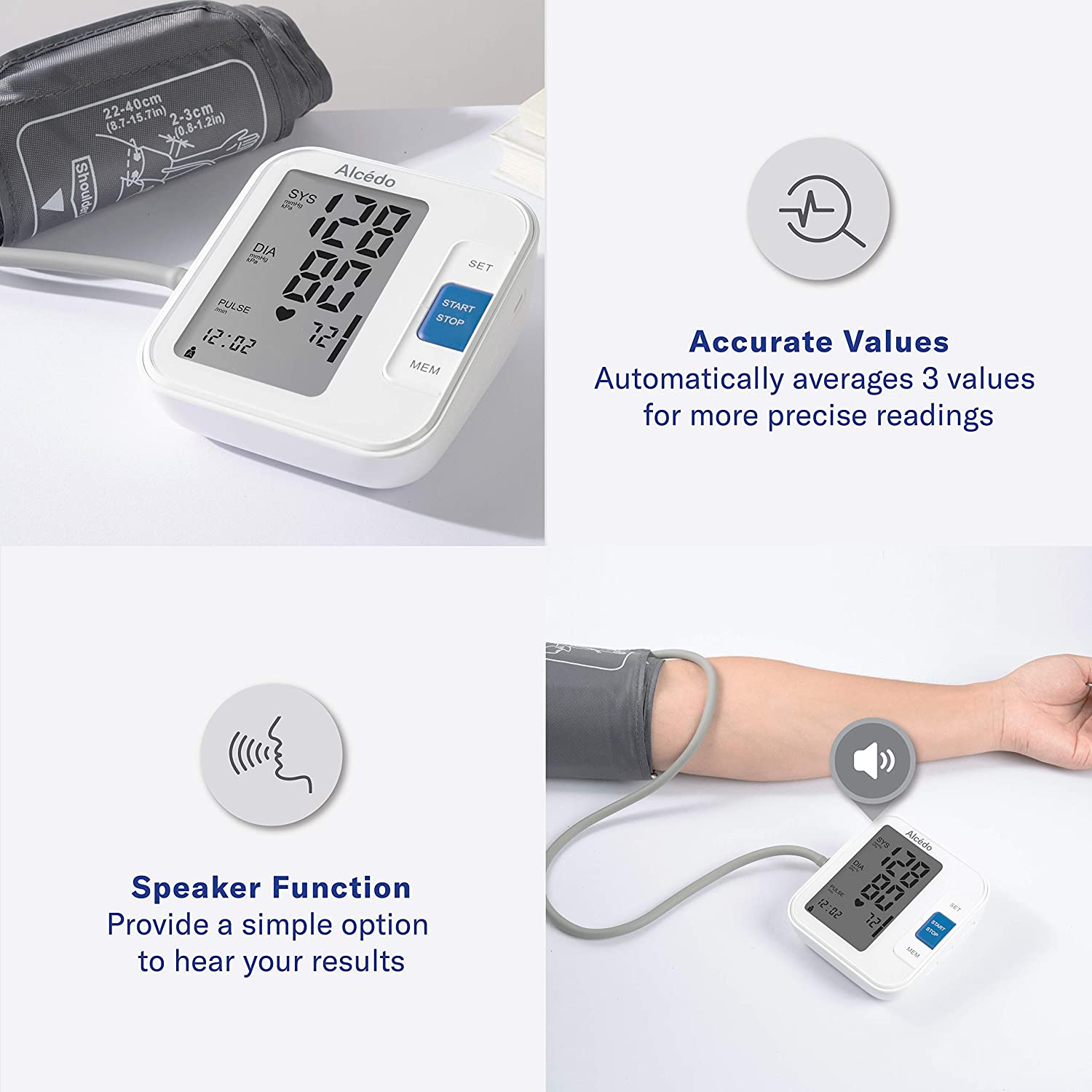 Alcedo Blood Pressure Monitor Upper Arm, Automatic Digital BP Machine with Wide-Range Cuff for Home Use, LCD Screen, 2x120 Memory, Talking Function