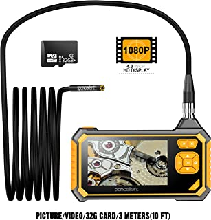 Digital Industrial Endoscope 1920X1080P, Pancellent Borescope Videoscope with IP67 Waterproof Inspection Camera,4.3 inch Color LCD Screen,32G Memory Card,10 FT(3 Meters)