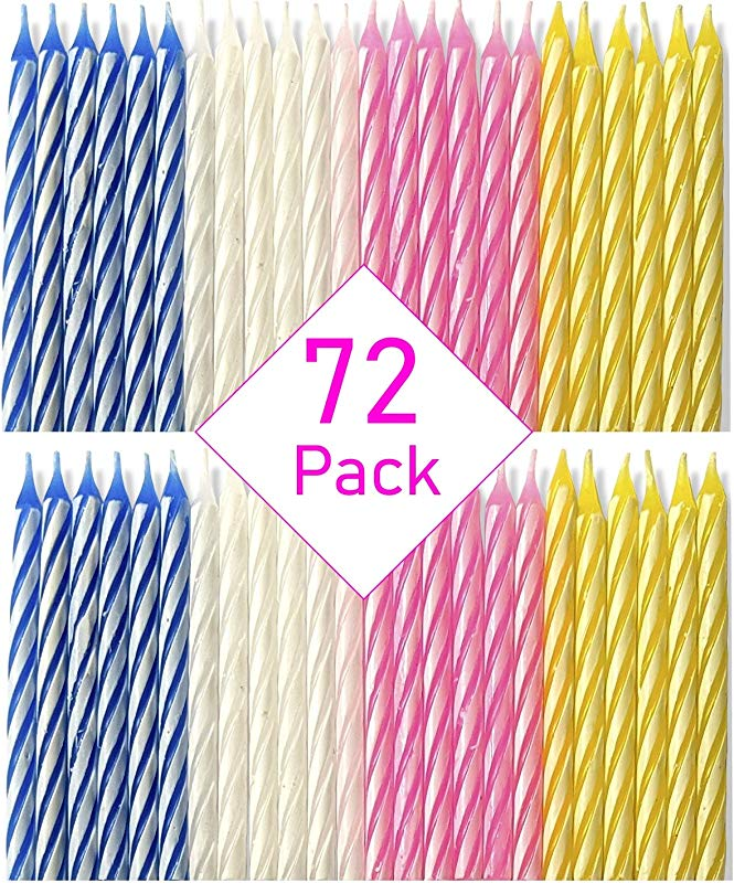 Bundaloo Birthday Candles 72 Pack Cake Decorations Colors Pink White Blue Yellow