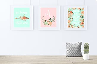 Coral and Mint Nursery Decor, Girl Nursery Art, Boho Nursery Decor, Set of 3 prints only frames not included.