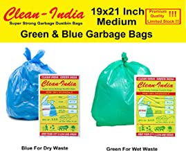 Clean India - 2 Packs Medium Disposable Garbage Bags for Wet and Dry Waste (30 Pcs Green and 30 pcs Blue) -1 Packs Each