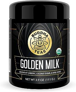 Buddha Teas Organic Golden Milk Powder | Turmeric Drink | Ayurvedic Super Herbal Blend | Slightly Sweetened with Coconut Sugar | 3.9 Ounces