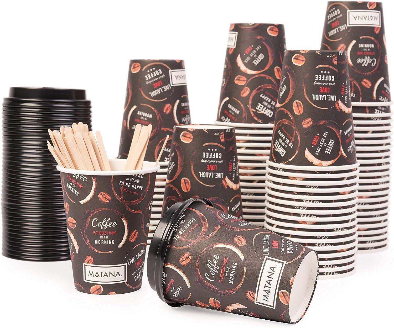 MATANA 80 Vasos de Café Desechables para Llevar (360ml) - con Tapas y Agitadores
