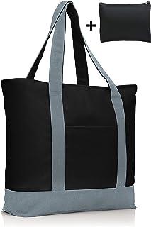 COTTARA Premium Baumwolltasche groß – hochwertige Tragetasche mit Reißverschluss und gratis Polyester Tasche – ideal als E...