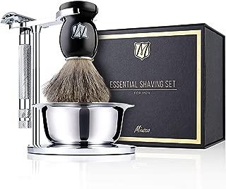 Miusco Men's Wet Shaving Kit, 4 Piece, Sterilized Pure Badger Hair Shaving Brush, Hand Polished Stainless Steel Shaving Stand, Shaving Bowel & Safety Razor
