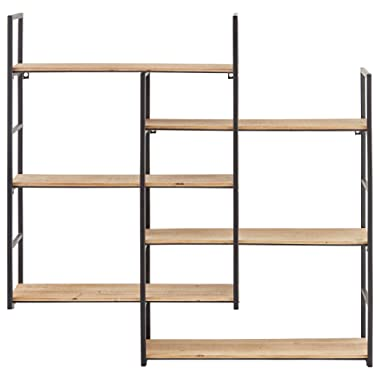 Amazon Brand – Rivet Modern Wood and Metal Floating Wall Storage Shelves - 37.25 W x 36.25 H, Natural and Black