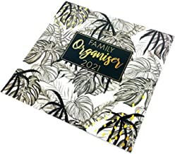 2021 Calendar Family Organiser Year Planner Gift Floral & Leaf Design (Yellow) (Grey Leaves)