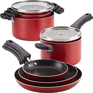 Farberware 22246 Neat Nest Space Saving 13-Piece Aluminum Cookware Set, Red
