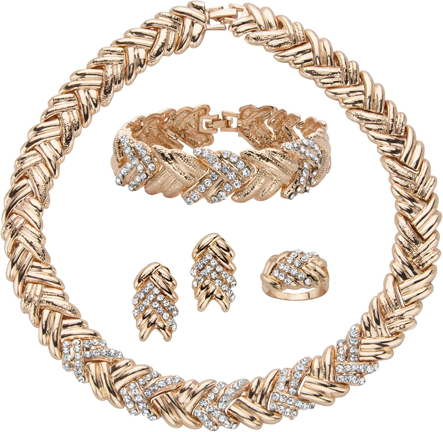 Palm Beach Jewelry Goldtone Round Crystal Braided Necklace (17.5mm), Earring, Bracelet and Ring Set, 18 inches
