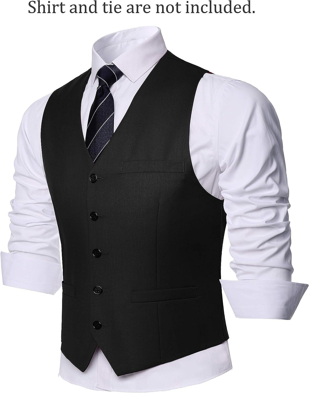 BABEYOND Mens Vintage Suit Vest Business Slim Fit Suit Vest Classic Waistcoat