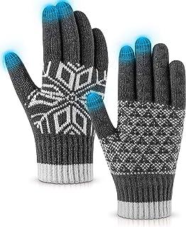 Winter Gloves Touch Screen Warm Knit Gloves, Soft Wool Lining Elastic Cuff Gloves for Running, Anti-Slip Rubber Design Warm Gloves for Men Women